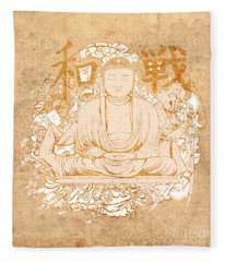 Buddha Painting Antique Fleece Blanket