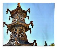 Buddhist Bells Fleece Blanket