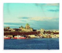 Buildings At The Waterfront, Quebec Fleece Blanket