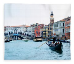Buildings At The Waterfront, Rialto Fleece Blanket