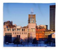 Buildings In Winter, Montreal, Quebec Fleece Blanket