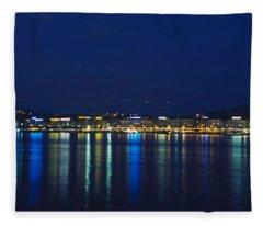 Buildings Lit Up At Night, Jet Deau Fleece Blanket