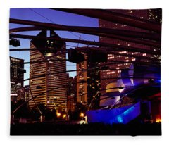 Buildings Lit Up At Night, Millennium Fleece Blanket