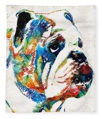 Bulldog Pop Art - How Bout A Kiss - By Sharon Cummings Fleece Blanket