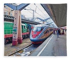 Bullet Train At A Railroad Station, St Fleece Blanket