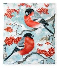 Bullfinch Couple Fleece Blanket