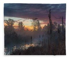 Bulrush Sunrise Full Scene Fleece Blanket