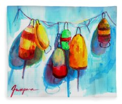 Colorful Buoys Fleece Blanket