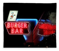 Burger Bar Neon Diner Sign At Night Fleece Blanket