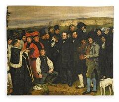 Burial At Ornans, 1849-50 Oil On Canvas Fleece Blanket