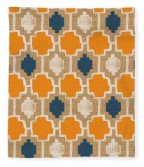 Burlap Blue And Orange Design Fleece Blanket