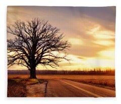 Burr Oak Silhouette Fleece Blanket