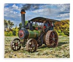 Burrell Steam Engine  Fleece Blanket