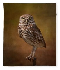 Burrowing Owl Portrait Fleece Blanket