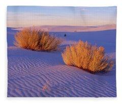 Bushes At White Sands National Fleece Blanket