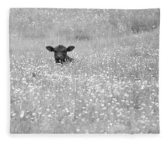 Buttercup In Black-and-white Fleece Blanket