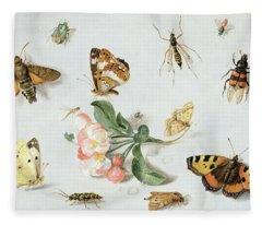 Butterflies Moths And Other Insects With A Sprig Of Apple Blossom Fleece Blanket
