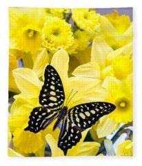 Butterfly Among The Daffodils Fleece Blanket