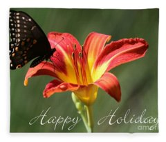 Butterfly And Lily Holiday Card Fleece Blanket