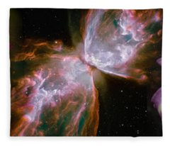 Butterfly Nebula With Iris And Pink Fleece Blanket