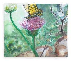 Butterfly On Flower  Fleece Blanket