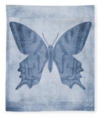 Butterfly Textures Cyanotype Fleece Blanket