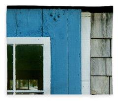 Old Door In Blue Fleece Blanket
