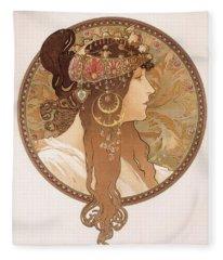 Byzantine Head Of A Brunette Fleece Blanket