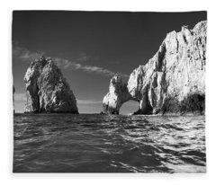 Cabo In Black And White Fleece Blanket