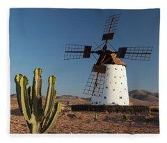Cactus And Wind Mills In Fuerteventura Fleece Blanket