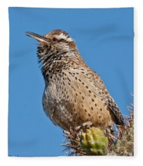 Cactus Wren Singing Fleece Blanket