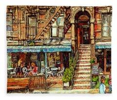 Cafe Mogador Moroccan Mediterranean Cuisine New York Paintings East Village Storefronts Street Scene Fleece Blanket