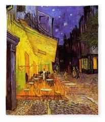 Cafe Terrace At Night Fleece Blanket