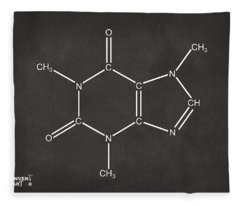 Caffeine Molecular Structure Gray Fleece Blanket