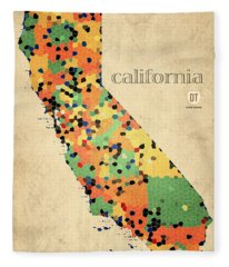 California Map Crystalized Counties On Worn Canvas By Design Turnpike Fleece Blanket