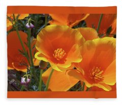 California Poppies Fleece Blanket