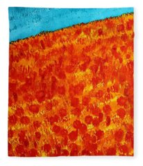 California Poppies Original Painting Fleece Blanket