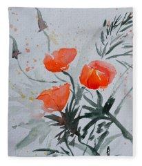 California Poppies Sumi-e Fleece Blanket