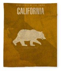 California State Facts Minimalist Movie Poster Art  Fleece Blanket