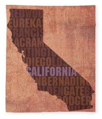 California Word Art State Map On Canvas Fleece Blanket