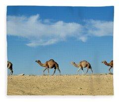 Camel Train Fleece Blanket
