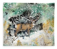 Camouflaged Mule Deer Buck In Winter Fleece Blanket