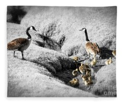 Canada Geese Family Fleece Blanket