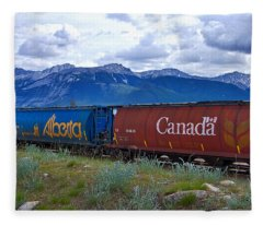 Canadian Freight Train In Jasper #2 Fleece Blanket