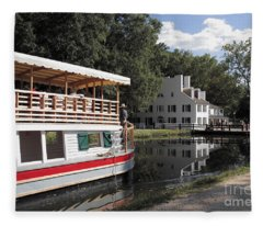 Canal Boat On The C And O Canal At Great Falls Tavern Fleece Blanket