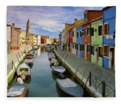 Canal Burano  Venice Italy  Fleece Blanket