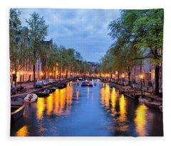 Canal In Amsterdam At Dusk Fleece Blanket