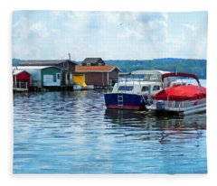 Canandaigua Fishing Shacks Fleece Blanket