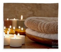 Candles And Towels In A Spa Fleece Blanket