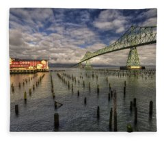 Cannery Pier Hotel And Astoria Bridge Fleece Blanket
